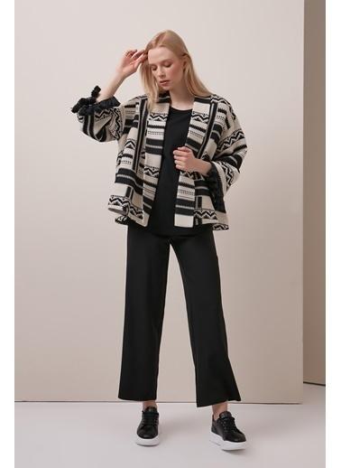 Gusto Etnik Desenli Kimono - Siyah Etnik Desenli Kimono - Siyah Siyah